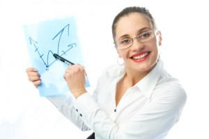businesswoman showing a scheme